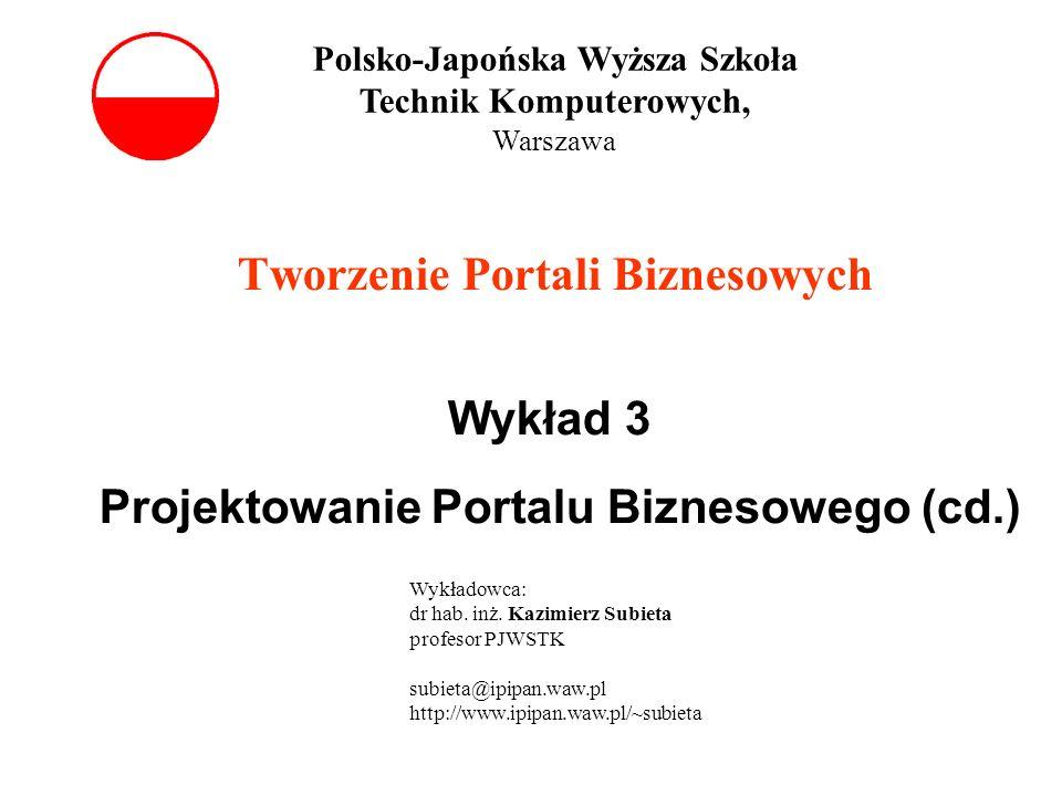 Tworzenie Portali Biznesowych Wykład 3 Projektowanie Portalu Biznesowego (cd.) Polsko-Japońska Wyższa Szkoła Technik Komputerowych, Warszawa Wykładowca: dr hab.