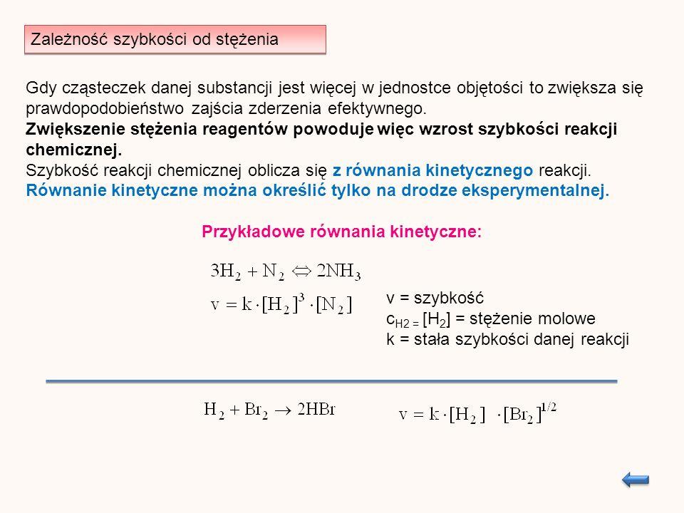Zależność szybkości od stężenia Gdy cząsteczek danej substancji jest więcej w jednostce objętości to zwiększa się prawdopodobieństwo zajścia zderzenia efektywnego.