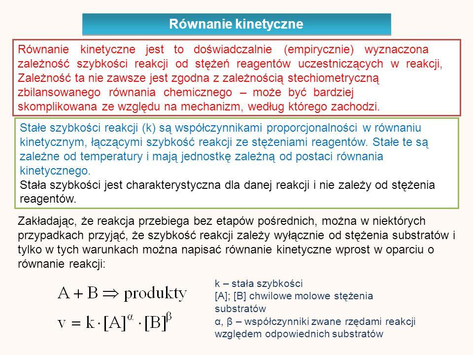 Równanie kinetyczne jest to doświadczalnie (empirycznie) wyznaczona zależność szybkości reakcji od stężeń reagentów uczestniczących w reakcji, Zależność ta nie zawsze jest zgodna z zależnością stechiometryczną zbilansowanego równania chemicznego – może być bardziej skomplikowana ze względu na mechanizm, według którego zachodzi.