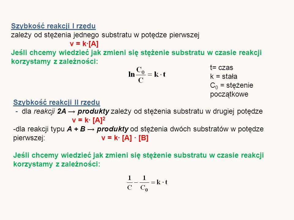 Szybkość reakcji I rzędu zależy od stężenia jednego substratu w potędze pierwszej v = k[A] Jeśli chcemy wiedzieć jak zmieni się stężenie substratu w czasie reakcji korzystamy z zależności: Szybkość reakcji II rzędu - dla reakcji 2A produkty zależy od stężenia substratu w drugiej potędze v = k [A] 2 -dla reakcji typu A + B produkty od stężenia dwóch substratów w potędze pierwszej: v = k [A] [B] Jeśli chcemy wiedzieć jak zmieni się stężenie substratu w czasie reakcji korzystamy z zależności: t= czas k = stała C 0 = stężenie początkowe