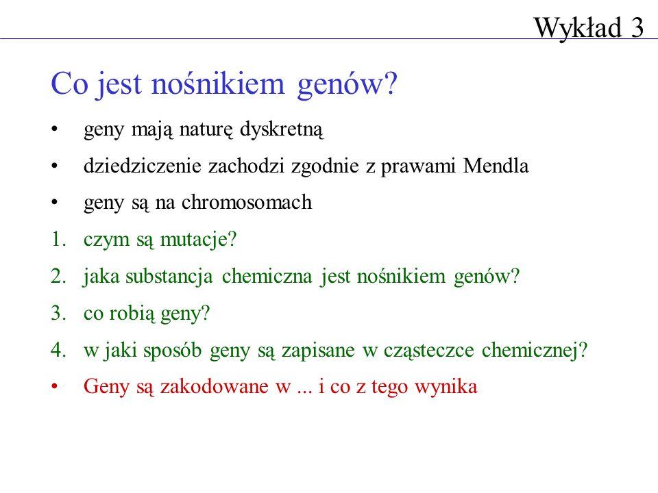 Co jest nośnikiem genów? geny mają naturę dyskretną dziedziczenie zachodzi zgodnie z prawami Mendla geny są na chromosomach 1.czym są mutacje? 2.jaka