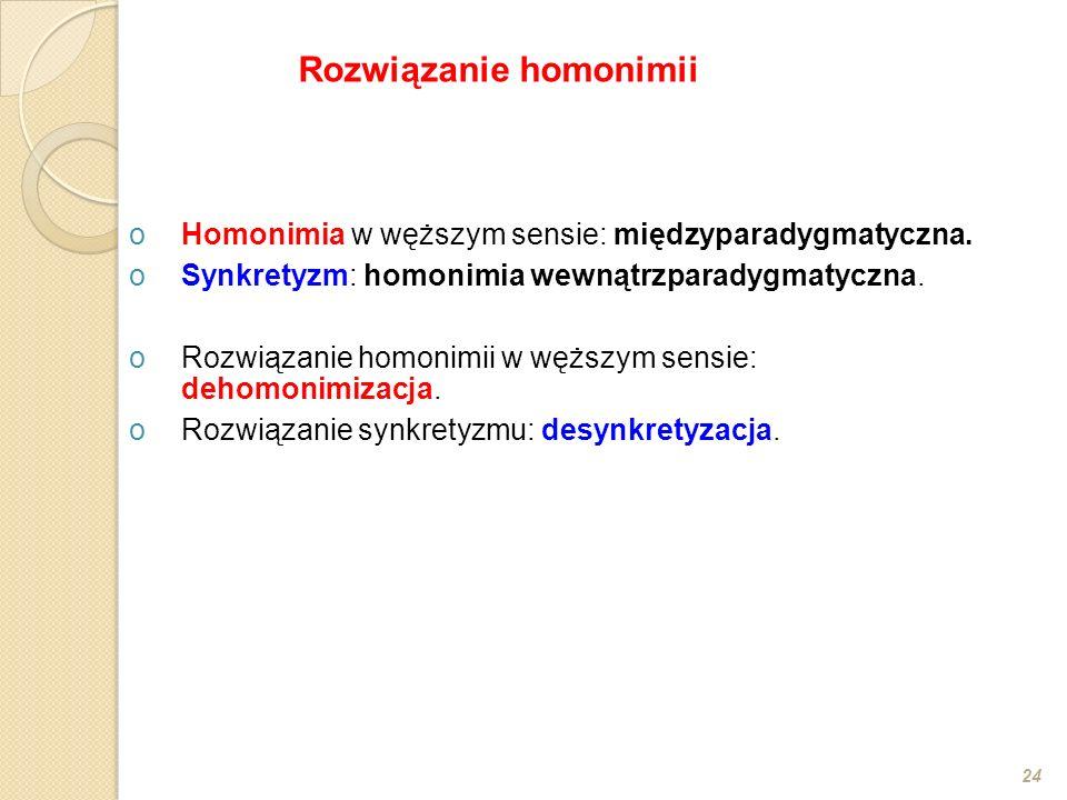oHomonimia w węższym sensie: międzyparadygmatyczna. oSynkretyzm: homonimia wewnątrzparadygmatyczna. oRozwiązanie homonimii w węższym sensie: dehomonim