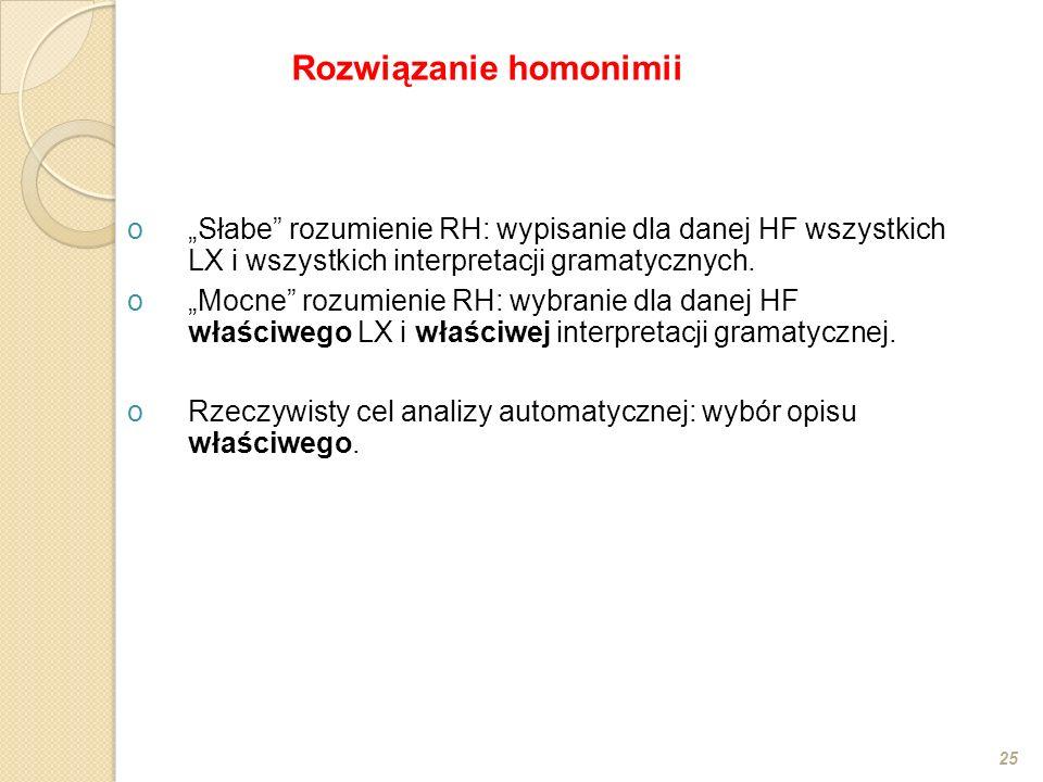 oSłabe rozumienie RH: wypisanie dla danej HF wszystkich LX i wszystkich interpretacji gramatycznych. oMocne rozumienie RH: wybranie dla danej HF właśc