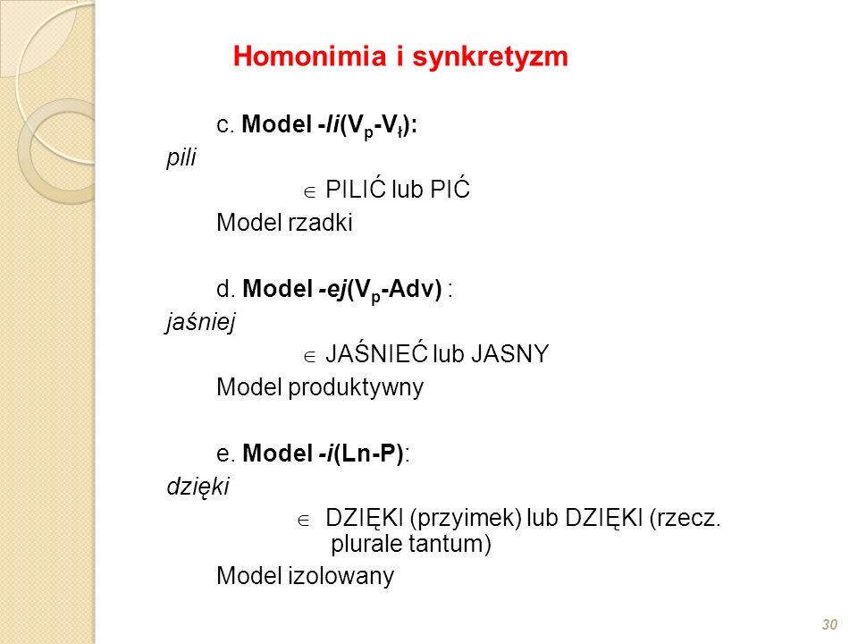 c. Model -li(V p -V ł ): pili PILIĆ lub PIĆ Model rzadki d. Model -ej(V p -Adv) : jaśniej JAŚNIEĆ lub JASNY Model produktywny e. Model -i(Ln-P): dzięk