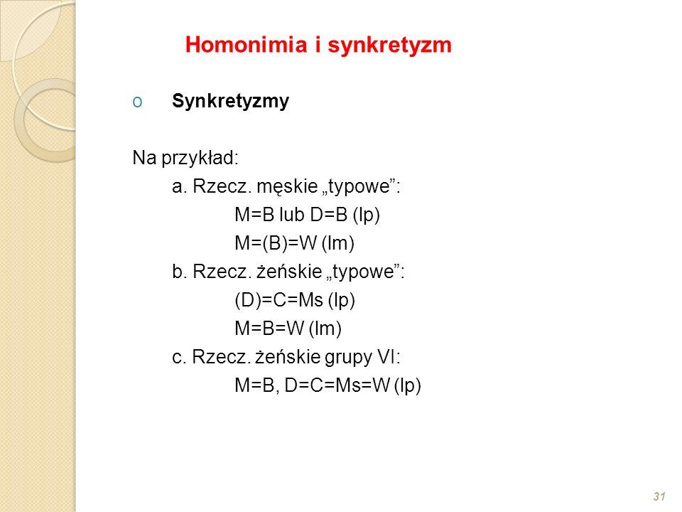 oSynkretyzmy Na przykład: a. Rzecz. męskie typowe: M=B lub D=B (lp) M=(B)=W (lm) b. Rzecz. żeńskie typowe: (D)=C=Ms (lp) M=B=W (lm) c. Rzecz. żeńskie