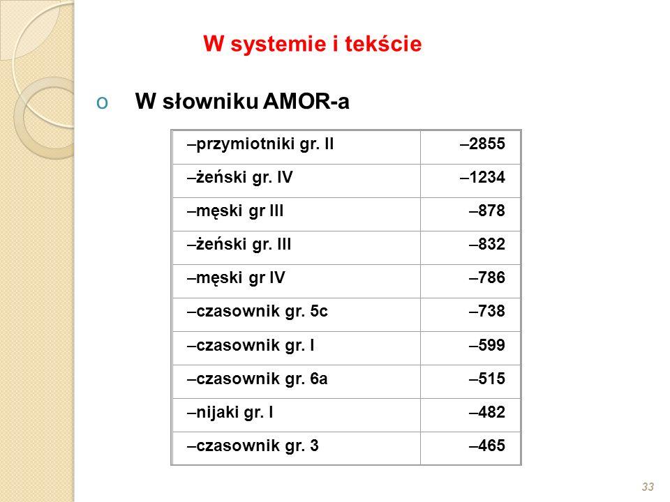 oW słowniku AMOR-a 33 –przymiotniki gr. II–2855 –żeński gr. IV–1234 –męski gr III–878 –żeński gr. III–832 –męski gr IV–786 –czasownik gr. 5c–738 –czas
