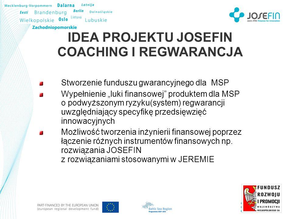 IDEA PROJEKTU JOSEFIN COACHING I REGWARANCJA Stworzenie funduszu gwarancyjnego dla MSP Wypełnienie luki finansowej produktem dla MSP o podwyższonym ryzyku(system) regwarancji uwzględniający specyfikę przedsięwzięć innowacyjnych Możliwość tworzenia inżynierii finansowej poprzez łączenie różnych instrumentów finansowych np.
