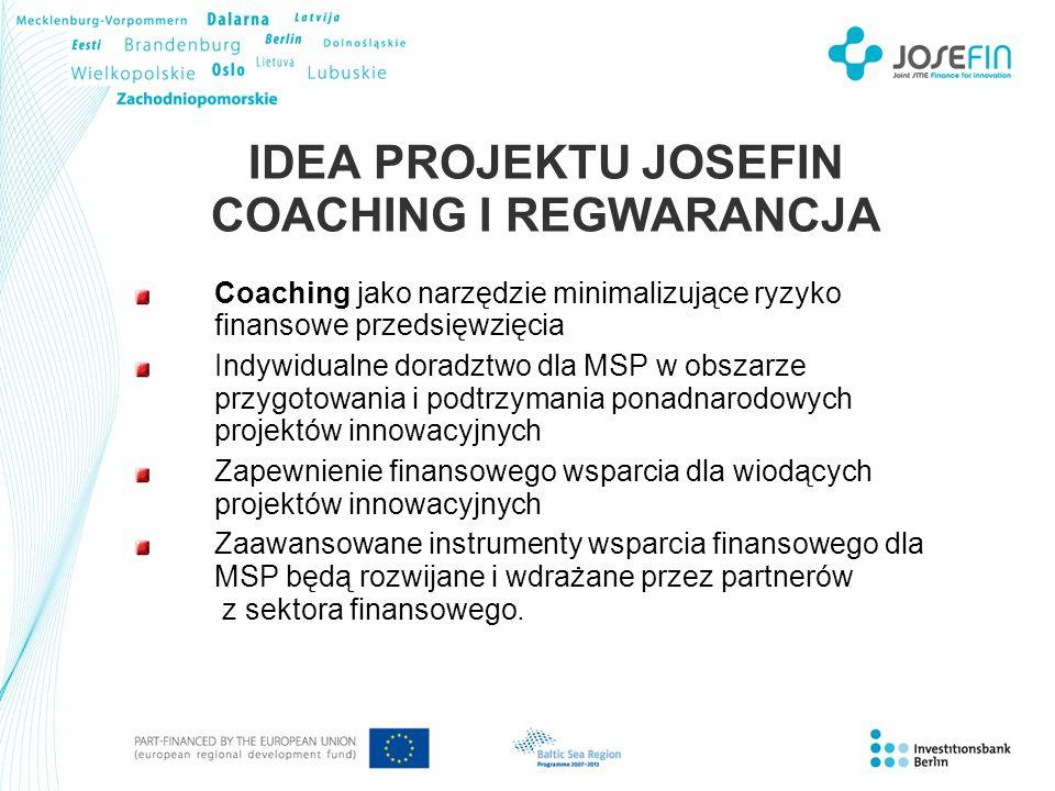 IDEA PROJEKTU JOSEFIN COACHING I REGWARANCJA Coaching jako narzędzie minimalizujące ryzyko finansowe przedsięwzięcia Indywidualne doradztwo dla MSP w obszarze przygotowania i podtrzymania ponadnarodowych projektów innowacyjnych Zapewnienie finansowego wsparcia dla wiodących projektów innowacyjnych Zaawansowane instrumenty wsparcia finansowego dla MSP będą rozwijane i wdrażane przez partnerów z sektora finansowego.