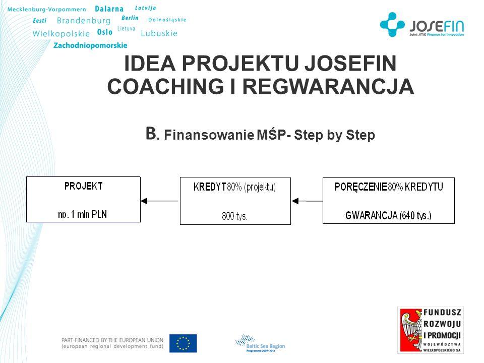 IDEA PROJEKTU JOSEFIN COACHING I REGWARANCJA B. Finansowanie MŚP- Step by Step