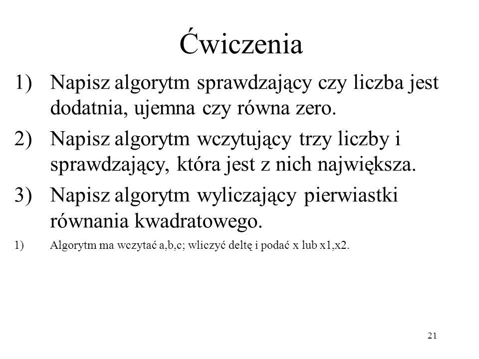 21 1)Napisz algorytm sprawdzający czy liczba jest dodatnia, ujemna czy równa zero. 2)Napisz algorytm wczytujący trzy liczby i sprawdzający, która jest