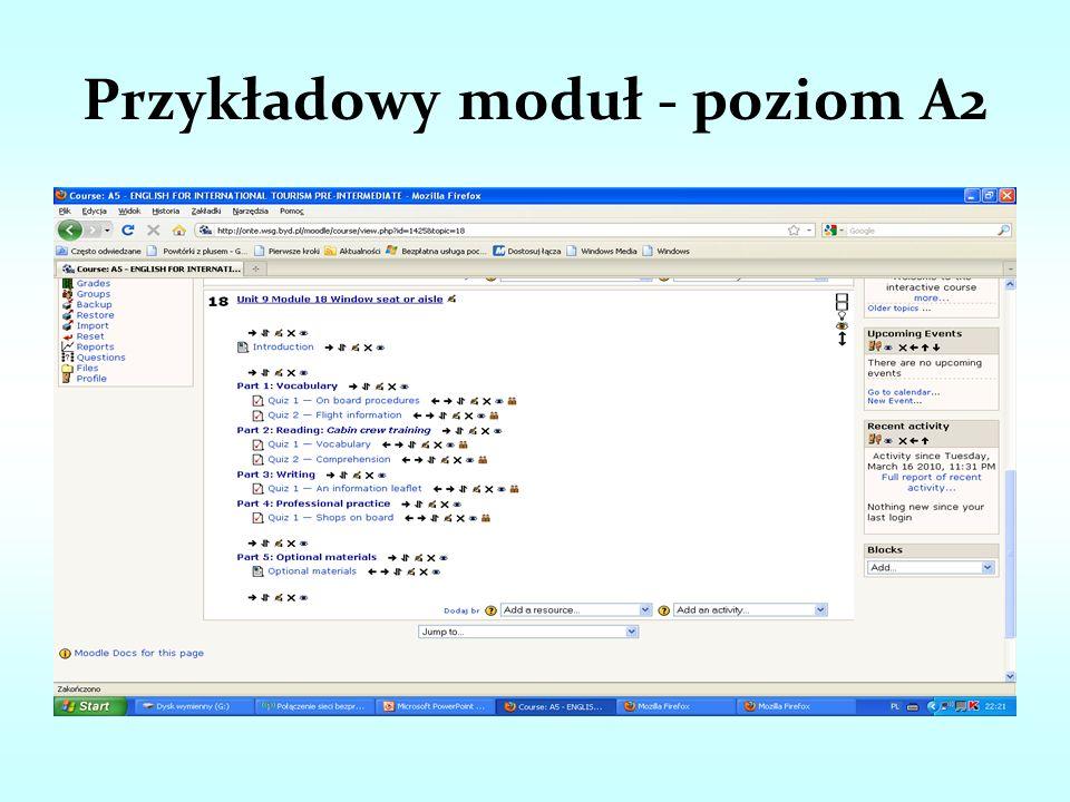 Przykładowy moduł - poziom A2