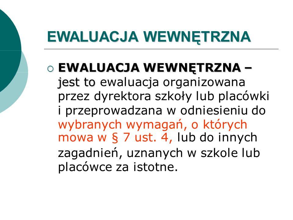 EWALUACJA WEWNĘTRZNA EWALUACJA WEWNĘTRZNA – jest to EWALUACJA WEWNĘTRZNA – jest to ewaluacja organizowana przez dyrektora szkoły lub placówki i przepr