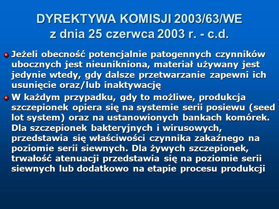 DYREKTYWA KOMISJI 2003/63/WE z dnia 25 czerwca 2003 r. - c.d. Jeżeli obecność potencjalnie patogennych czynników ubocznych jest nieunikniona, materiał