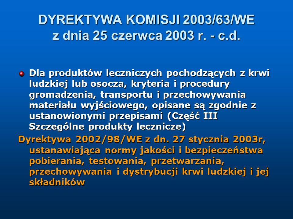 DYREKTYWA KOMISJI 2003/63/WE z dnia 25 czerwca 2003 r. - c.d. Dla produktów leczniczych pochodzących z krwi ludzkiej lub osocza, kryteria i procedury