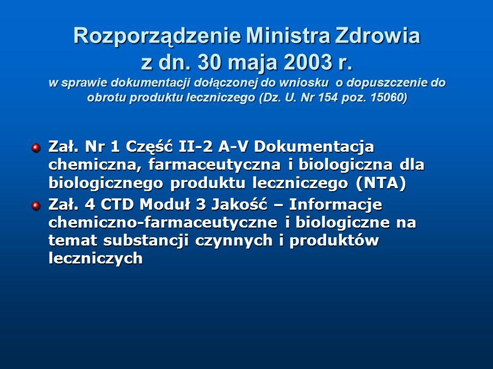 Rozporządzenie Ministra Zdrowia z dn. 30 maja 2003 r. w sprawie dokumentacji dołączonej do wniosku o dopuszczenie do obrotu produktu leczniczego (Dz.