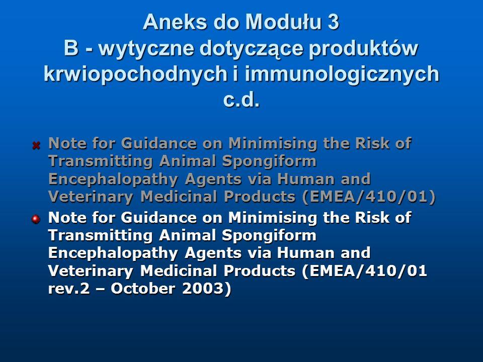 Aneks do Modułu 3 B - wytyczne dotyczące produktów krwiopochodnych i immunologicznych c.d. Note for Guidance on Minimising the Risk of Transmitting An
