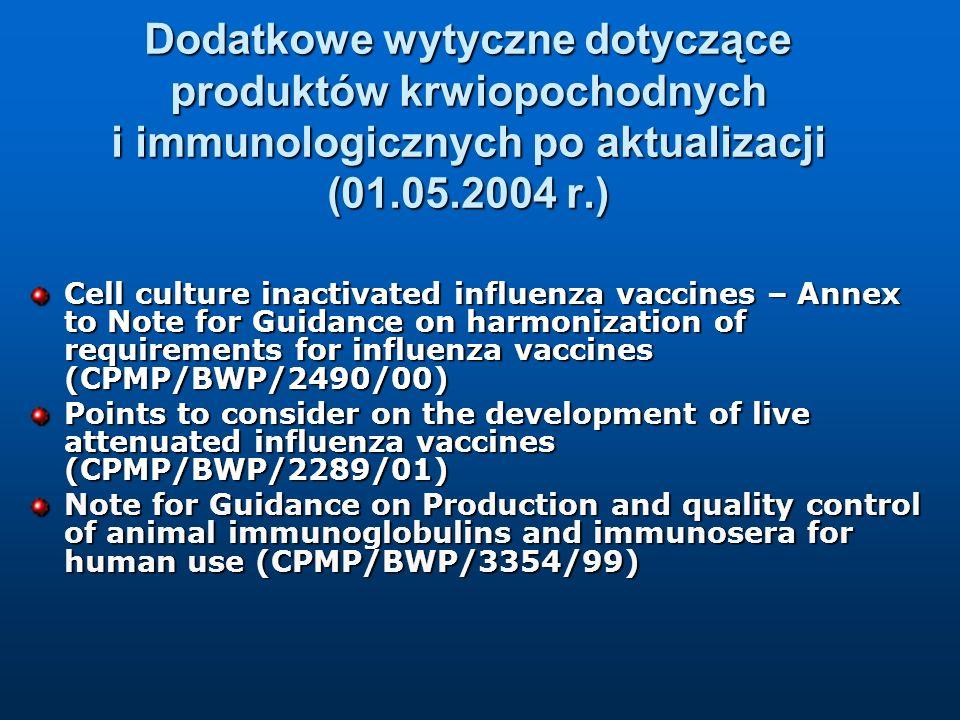 Dodatkowe wytyczne dotyczące produktów krwiopochodnych i immunologicznych po aktualizacji (01.05.2004 r.) Cell culture inactivated influenza vaccines