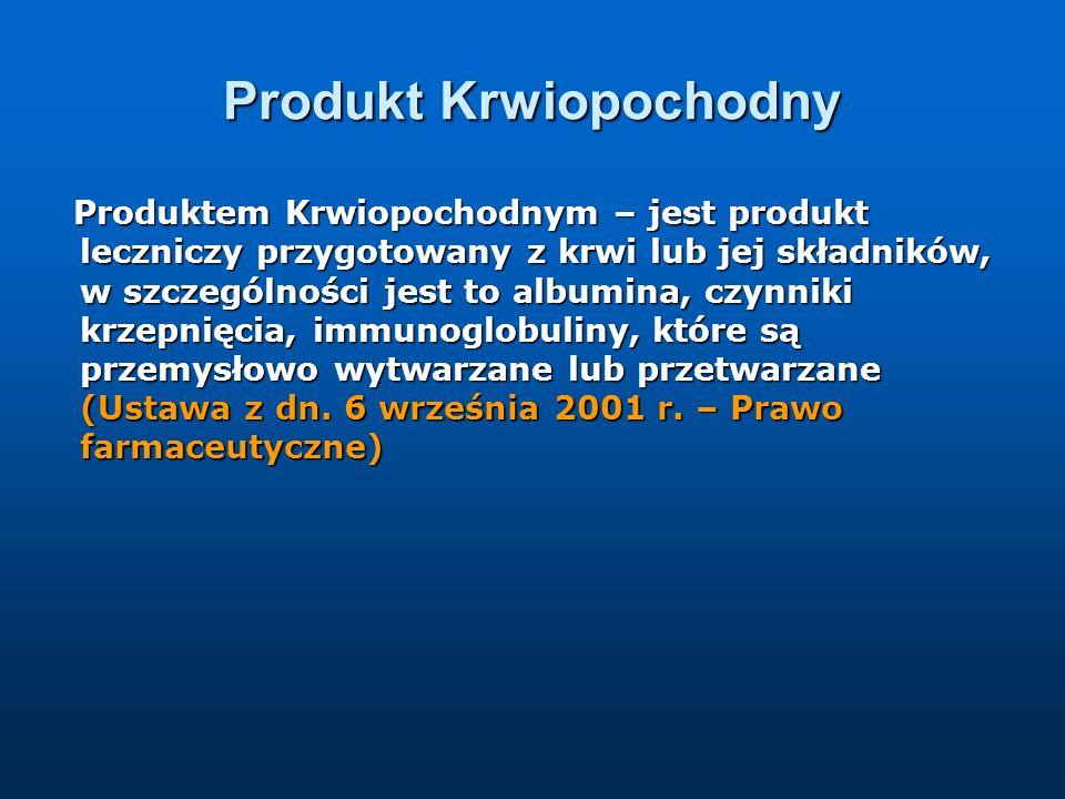 Produkt Krwiopochodny Produktem Krwiopochodnym – jest produkt leczniczy przygotowany z krwi lub jej składników, w szczególności jest to albumina, czyn