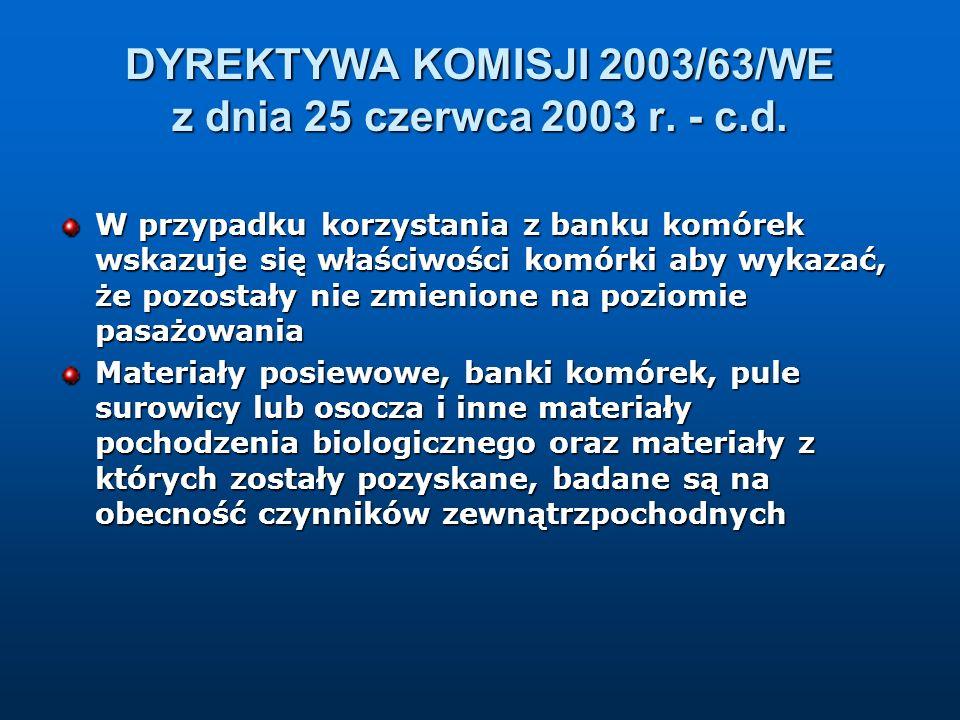 DYREKTYWA KOMISJI 2003/63/WE z dnia 25 czerwca 2003 r. - c.d. W przypadku korzystania z banku komórek wskazuje się właściwości komórki aby wykazać, że