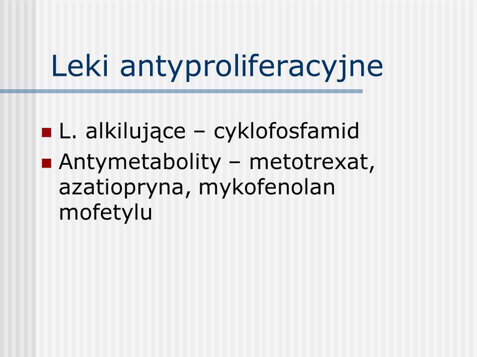 Azatiopryna-1962 Analog puryn hamujący syntezę DNA - szlak de novo: hamuje proliferacje limf.