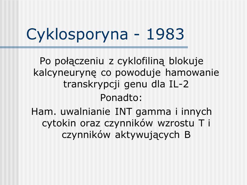 Cyklosporyna Wady: - nefrotoksyczność ostra – odwracalna i zależna od dawki przewlekła – nieodwracalna i niezalezna od dawki - hiperkaliemia - nadciśnienie tętnicze - drżenia - hirutyzm - przerost dziąseł - parestezje - hepatotoksyczność [odwracalna i zależna od dawki]