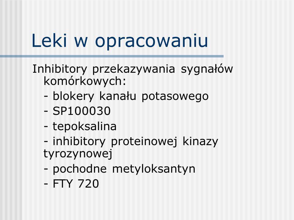 Leki w opracowaniu Leki biologiczne: - pC anty CD3 - immunotoksyny anty CD3 - leki blokujace kostymulację – ligandy anty CD40 - pC anty CD20, CD45 - pc przeciwko cząsteczkom adhezyjnym - blokery IL-15 - CAMPATH-1H