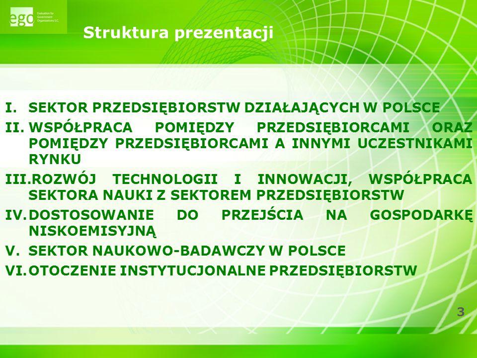 3 Struktura prezentacji I.SEKTOR PRZEDSIĘBIORSTW DZIAŁAJĄCYCH W POLSCE II.WSPÓŁPRACA POMIĘDZY PRZEDSIĘBIORCAMI ORAZ POMIĘDZY PRZEDSIĘBIORCAMI A INNYMI