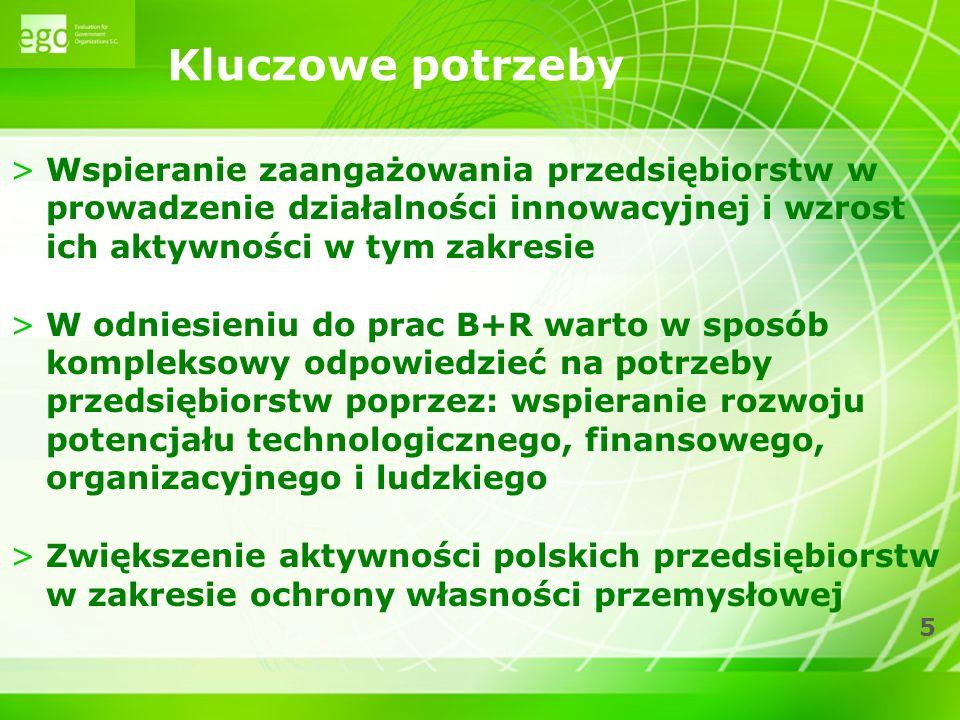 6 >Wzrost świadomości polskich przedsiębiorców w zakresie korzyści jakie niesienie podejmowanie działalności innowacyjnej, a także informowanie o dostępnych źródłach finansowania >Zwiększenie udziału biznesu w finansowaniu prac B+R >Zwiększenie dostępu do finansowania dla przedsiębiorstw poprzez wdrożenie instrumentów dostosowanych do poziomu ryzyka projektu, czy etapu jego rozwoju Kluczowe potrzeby