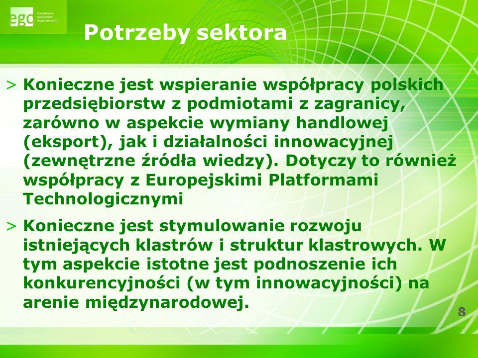 8 Potrzeby sektora >Konieczne jest wspieranie współpracy polskich przedsiębiorstw z podmiotami z zagranicy, zarówno w aspekcie wymiany handlowej (eksp