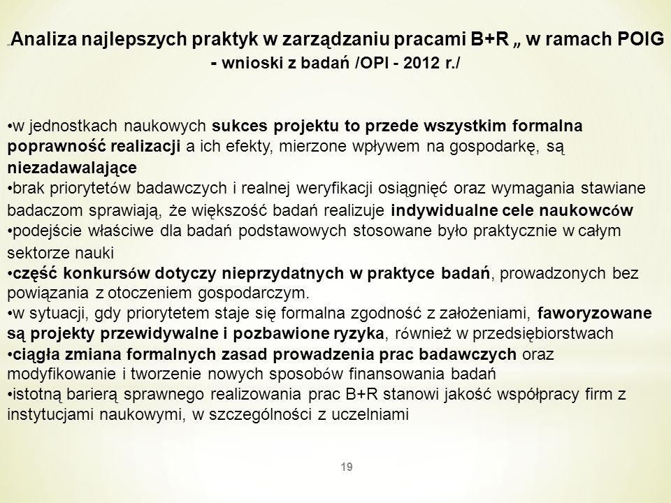 19 Analiza najlepszych praktyk w zarządzaniu pracami B+R w ramach POIG - wnioski z badań /OPI - 2012 r./ w jednostkach naukowych sukces projektu to pr