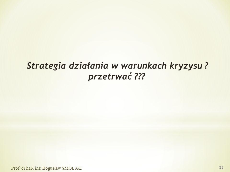 Strategia działania w warunkach kryzysu ? przetrwać ??? Prof. dr hab. inż. Bogusław SMÓLSKI 33