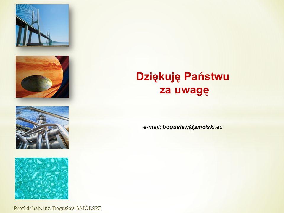 e-mail: boguslaw@smolski.eu Prof. dr hab. inż. Bogusław SMÓLSKI Dziękuję Państwu za uwagę