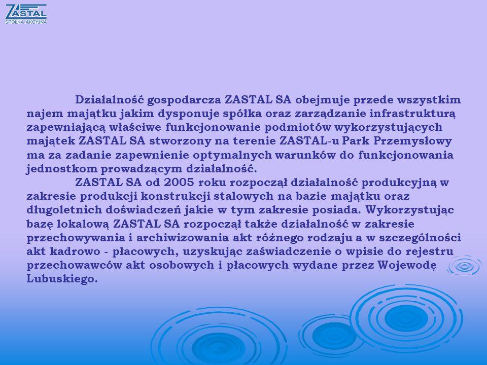 Działalność gospodarcza ZASTAL SA obejmuje przede wszystkim najem majątku jakim dysponuje spółka oraz zarządzanie infrastrukturą zapewniającą właściwe