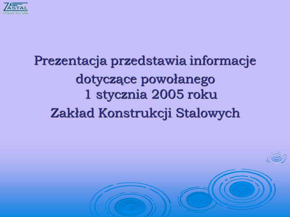 Prezentacja przedstawia informacje dotyczące powołanego 1 stycznia 2005 roku Zakład Konstrukcji Stalowych