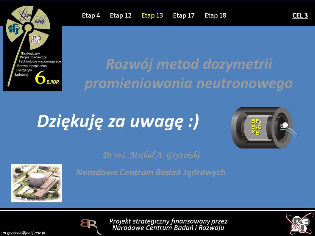 Projekt strategiczny finansowany przez Narodowe Centrum Badań i Rozwoju m.gryzinski@ncbj.gov.pl Dr inż. Michał A. Gryziński Narodowe Centrum Badań Jąd