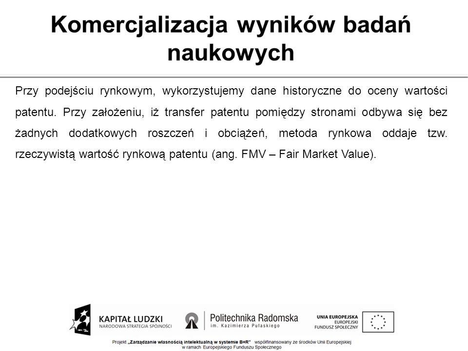 Przy podejściu rynkowym, wykorzystujemy dane historyczne do oceny wartości patentu. Przy założeniu, iż transfer patentu pomiędzy stronami odbywa się b
