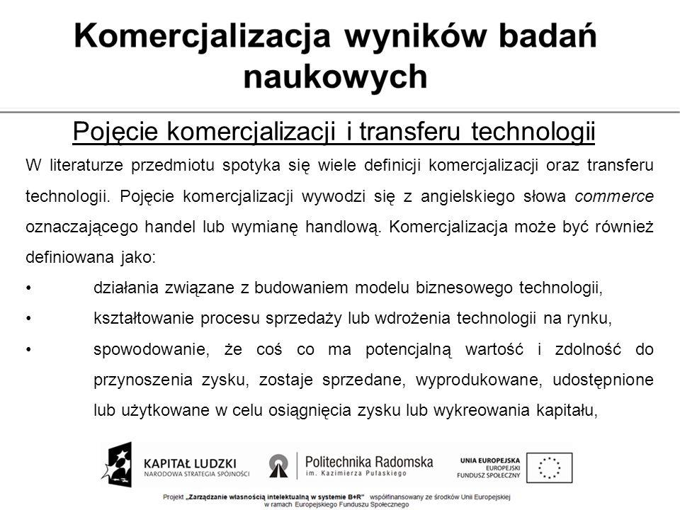 Pojęcie komercjalizacji i transferu technologii W literaturze przedmiotu spotyka się wiele definicji komercjalizacji oraz transferu technologii. Pojęc