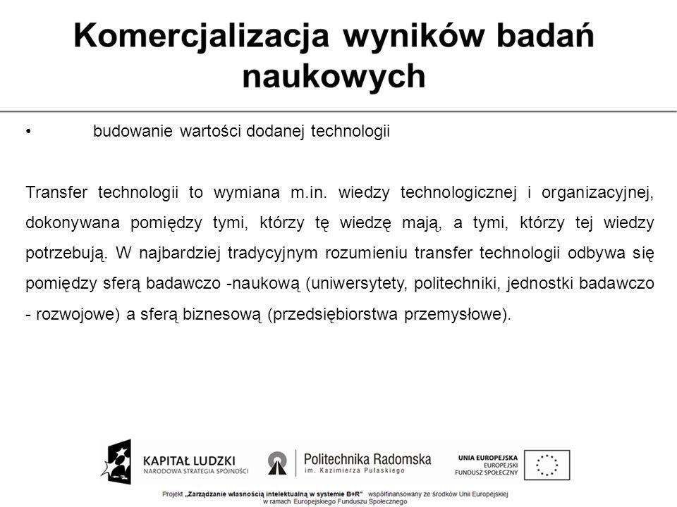 budowanie wartości dodanej technologii Transfer technologii to wymiana m.in. wiedzy technologicznej i organizacyjnej, dokonywana pomiędzy tymi, którzy