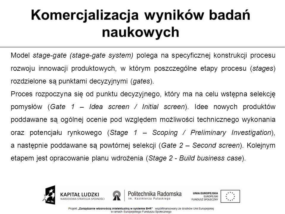 Model stage-gate (stage-gate system) polega na specyficznej konstrukcji procesu rozwoju innowacji produktowych, w którym poszczególne etapy procesu (s