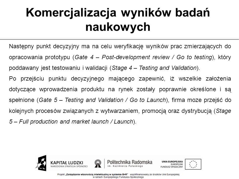 Następny punkt decyzyjny ma na celu weryfikację wyników prac zmierzających do opracowania prototypu (Gate 4 – Post-development review / Go to testing)