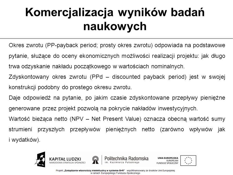 Okres zwrotu (PP-payback period; prosty okres zwrotu) odpowiada na podstawowe pytanie, służące do oceny ekonomicznych możliwości realizacji projektu: