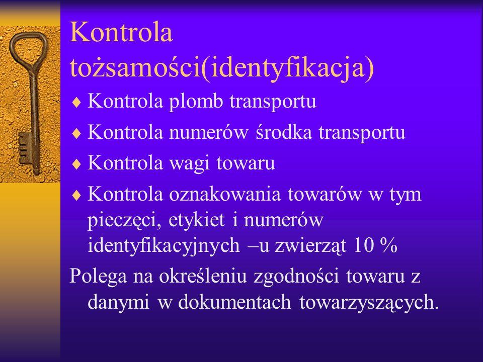 Kontrola tożsamości(identyfikacja) Kontrola plomb transportu Kontrola numerów środka transportu Kontrola wagi towaru Kontrola oznakowania towarów w ty