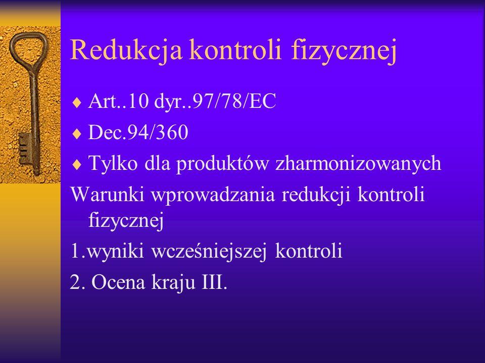 Redukcja kontroli fizycznej Art..10 dyr..97/78/EC Dec.94/360 Tylko dla produktów zharmonizowanych Warunki wprowadzania redukcji kontroli fizycznej 1.w