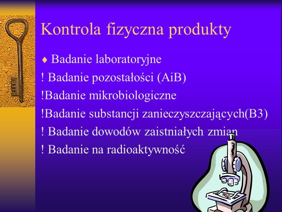 Kontrola fizyczna produkty Badanie laboratoryjne ! Badanie pozostałości (AiB) !Badanie mikrobiologiczne !Badanie substancji zanieczyszczających(B3) !