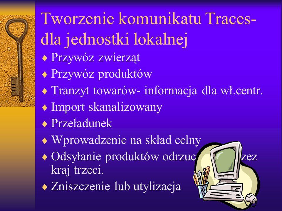 Tworzenie komunikatu Traces- dla jednostki lokalnej Przywóz zwierząt Przywóz produktów Tranzyt towarów- informacja dla wł.centr. Import skanalizowany