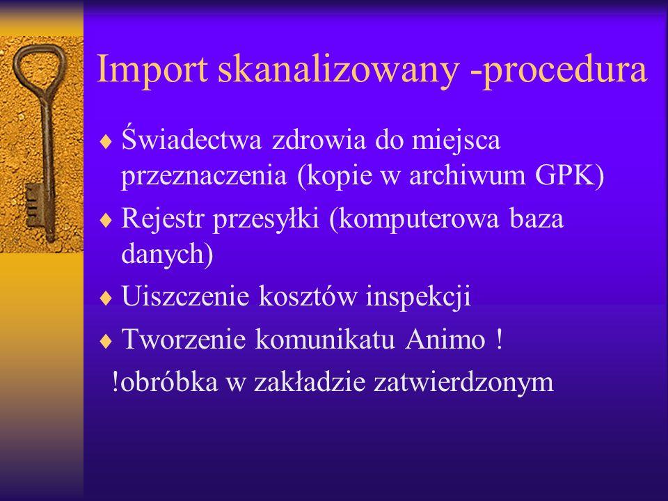 Import skanalizowany -procedura Świadectwa zdrowia do miejsca przeznaczenia (kopie w archiwum GPK) Rejestr przesyłki (komputerowa baza danych) Uiszcze