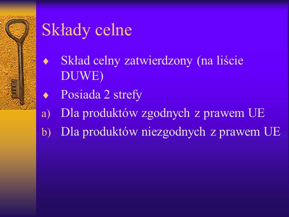 Składy celne Skład celny zatwierdzony (na liście DUWE) Posiada 2 strefy a) Dla produktów zgodnych z prawem UE b) Dla produktów niezgodnych z prawem UE