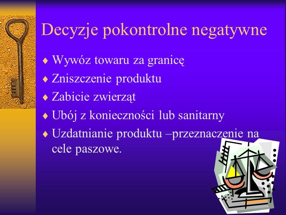 Decyzje pokontrolne negatywne Wywóz towaru za granicę Zniszczenie produktu Zabicie zwierząt Ubój z konieczności lub sanitarny Uzdatnianie produktu –pr