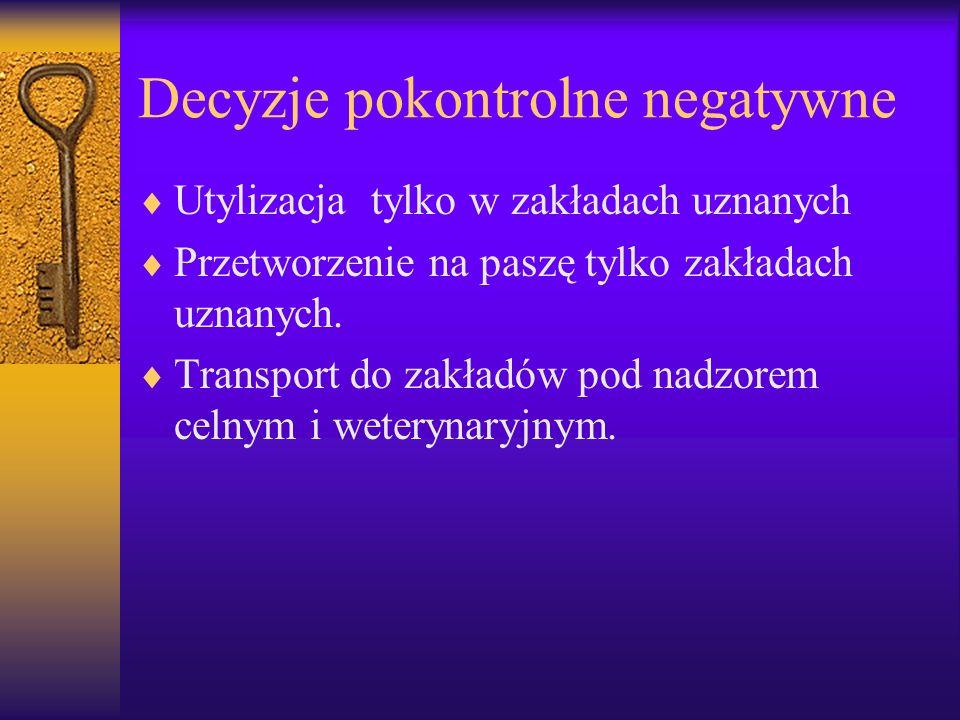Decyzje pokontrolne negatywne Utylizacja tylko w zakładach uznanych Przetworzenie na paszę tylko zakładach uznanych. Transport do zakładów pod nadzore