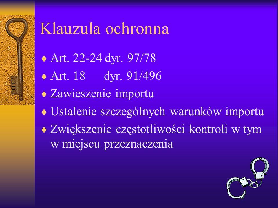 Klauzula ochronna Art. 22-24 dyr. 97/78 Art. 18 dyr. 91/496 Zawieszenie importu Ustalenie szczególnych warunków importu Zwiększenie częstotliwości kon